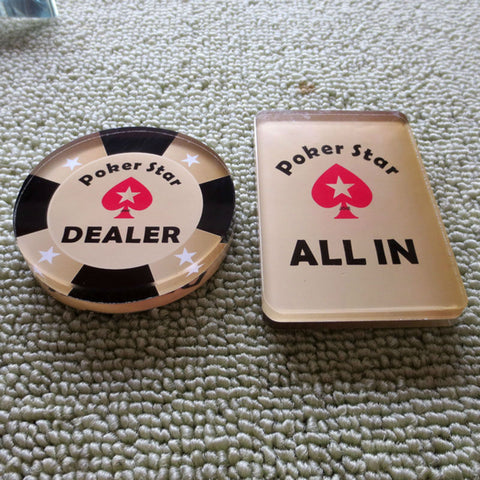 2pcs/set  DEALER+ALL IN  Poker Star Crystal Dealer Dia.2.56  Texas Hold'em Accessories - casinomegastore