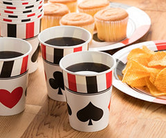 Disposable Dinnerware Set - Serves 24 - Casino, Poker Party - Includes Plastic Knives, Spoons, Forks, Paper Plates, Napkins, Cups