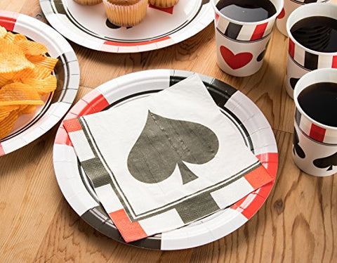 Disposable Dinnerware Set - Serves 24 - Casino, Poker Party - Includes Plastic Knives, Spoons, Forks, Paper Plates, Napkins, Cups - casinomegastore