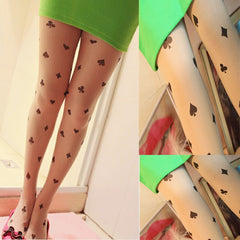 Poker Style Girl Transparent Tattoo Tights Stockings Pantyhose Leggings - casinomegastore