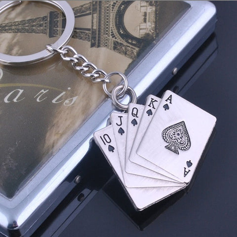 Cool Creative Poker Playing Card Alloy Key Chain Key Chains Key Ring - casinomegastore
