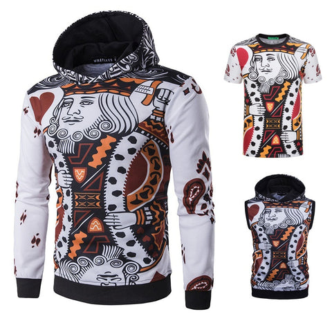 2017 Winter Fashion New Men 3D Printing Poker Hoodie - casinomegastore