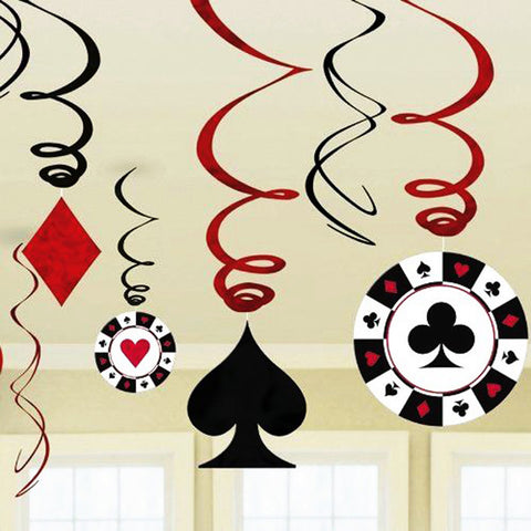 9pcs/set Foil Casino Hanging Swirl Party Decorations Playing Card Swirls - casinomegastore