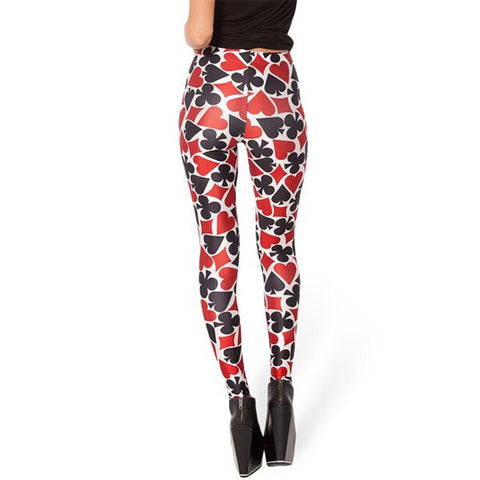 Autumn Leggings Poker Printed Fashion Stretch Legging Female - casinomegastore