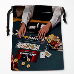 BEST! Poker Drawstring Bags Custom Storage Printed Bag for Books Papers Toiletries More