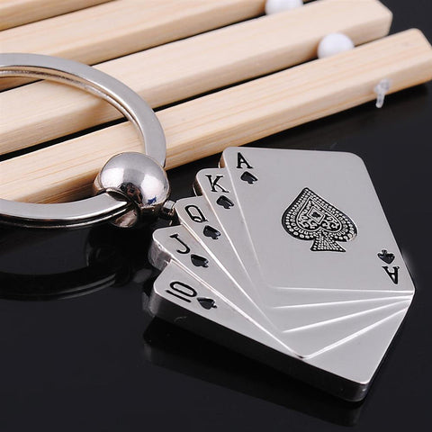 Unique Key Holder Metal Poker Key Chain Ring Best Gift - casinomegastore