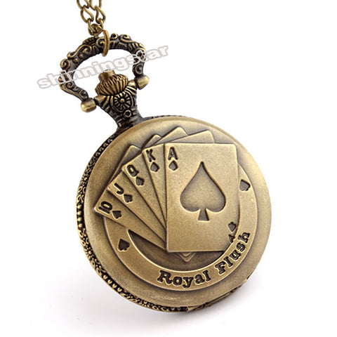 PERFECT Xmas GIFT: Royal Flush Poker Pattern Vintage Watch Necklace Jewelry - casinomegastore