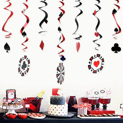 Party Hard! Foil Swirls Casino Poker Blackjack Party Decorations Ceiling Hanging - casinomegastore