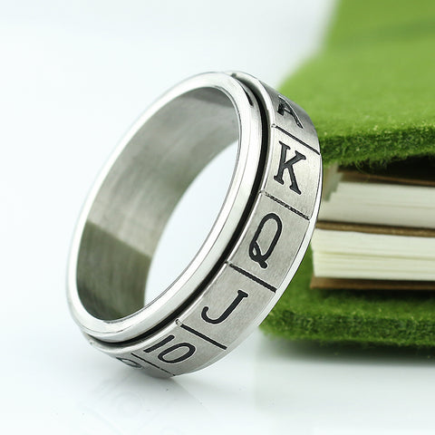 Free Shipping Stainless Steel Double Layer Poker BlackJack Ring Jewelry - casinomegastore