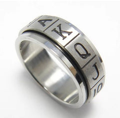 Free Shipping Stainless Steel Double Layer Poker BlackJack Ring Jewelry