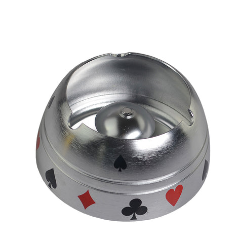 NEW! Gold Silver Metal Poker Suited Table Ashtray - casinomegastore