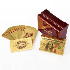 PERFECT GIFT! Gold Plated Playing Cards in Wooden Box With Certification for High Class Games - casinomegastore