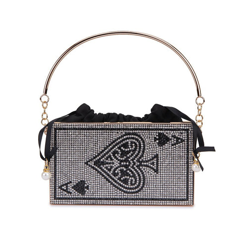 Metal Hollow Poker Diamond Luxury Women Party Clutch