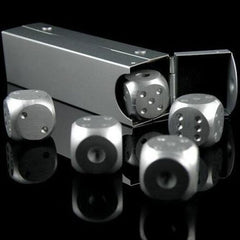 CRAPS! High Quality Aluminium Alloy Poker 5 Pieces Silver Color Solid Portable Party Dice - casinomegastore
