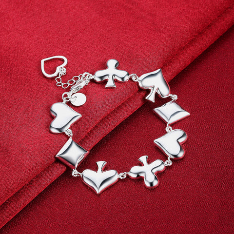 HOT Fashion Jewellery! Poker Pattern 925 Sterling Silver Unisex Bracelet - casinomegastore