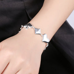 HOT Fashion Jewellery! Poker Pattern 925 Sterling Silver Unisex Bracelet
