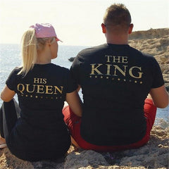 KING QUEEN Novelty Printed Couples T-Shirt Men Women & Partners in Casino Gaming