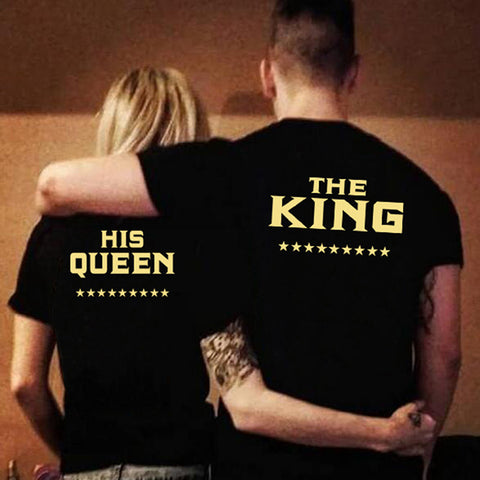 KING QUEEN Novelty Printed Couples T-Shirt Men Women & Partners in Casino Gaming - casinomegastore