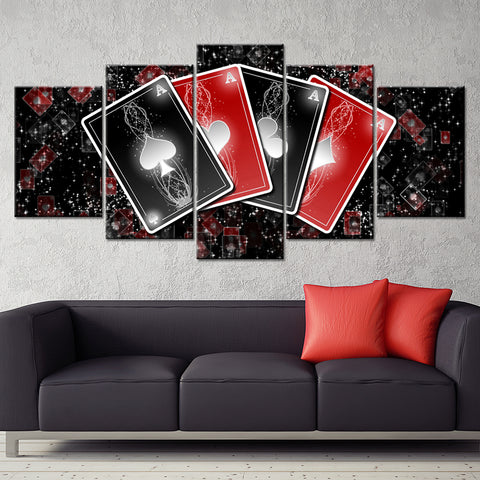 ACES! Canvas Framed Artwork Playing Cards for Home & Casino Decor or Gaming Rooms & Bars
