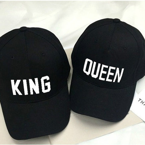 KING QUEEN Novelty Printed Couples Caps Men Women & Partners in Casino Gaming - casinomegastore