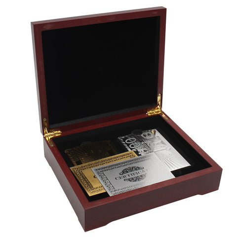BIRTHDAY GIFT! Gold and Silver Plated Playing Card Set Certified in Wooden Box 2 Pack - casinomegastore