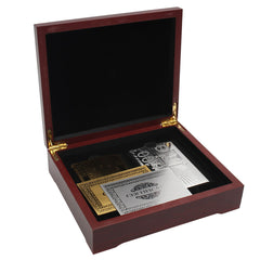 BIRTHDAY GIFT! Gold and Silver Plated Playing Card Set Certified in Wooden Box 2 Pack