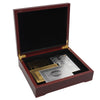 Image of BIRTHDAY GIFT! Gold and Silver Plated Playing Card Set Certified in Wooden Box 2 Pack - casinomegastore