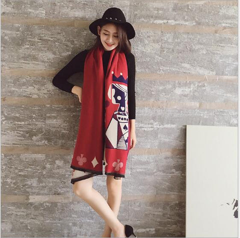 WARMTH! Winter Scarf Casino Queen Blackjack Double - Sided Shawl - casinomegastore