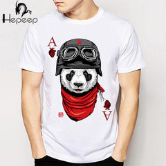 Novelty Poker Pattern Printed Wolf Casual T-Shirt