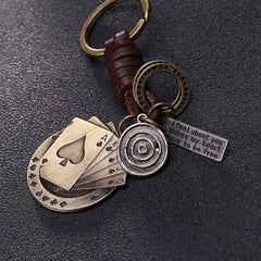 Vintage  Casino  Unisex Leather Metal Key Chain Keyring