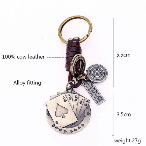 Vintage  Casino  Unisex Leather Metal Key Chain Keyring - casinomegastore