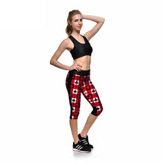 SEXY Capri Pants Poker Design Digital Print High Waist Sports Women's Leggings - casinomegastore