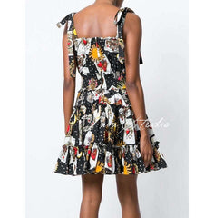 Runway Designer 2018 Fashion Poker Print Party Dress