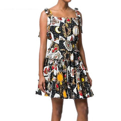 Runway Designer 2018 Fashion Poker Print Party Dress - casinomegastore