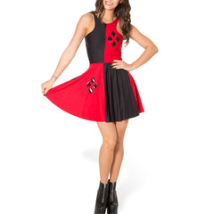 STYLE! Summer Dress for Women with Casino Print Pleated Black Red Patchwork - casinomegastore