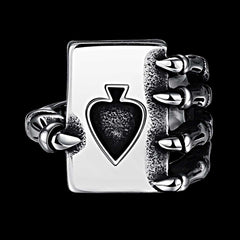 Tiger Totem Vintage Men Fashion  Jewelry Poker Titanium Ring