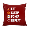 Image of COOL Eat, Sleep Poker Repeat Throw Pillow Cushion for Sofa Home Decor - casinomegastore