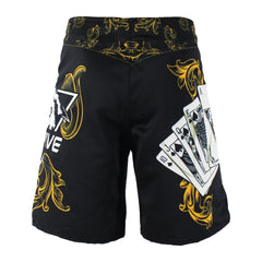 SURFS UP! Men's Yellow Poker Royal Flush Tiger Boxing Fitness Swimming Surf Shorts