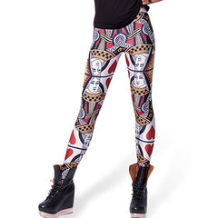 Women's Printed Queen of Hearts Poker Elastic Leggings Pencil Pants New Arrival