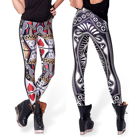 Women's Printed Queen of Hearts Poker Elastic Leggings Pencil Pants New Arrival - casinomegastore