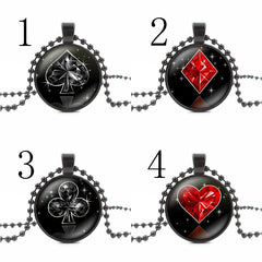 Poker BlackJack  Style Glass Cabochon Pendant Necklace Women Jewelry