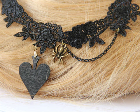 ELEGANT Poker Queen Lace Vintage Necklace & Pendant False Collar Gothic Jewelry - casinomegastore
