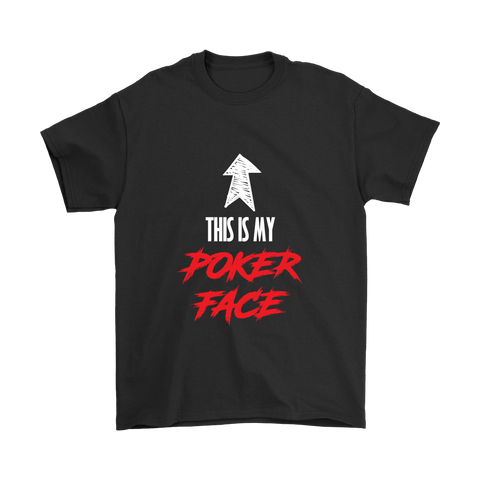 POKER FACE! Great caption, 100% Cotton Graphic Unisex Tshirt - casinomegastore