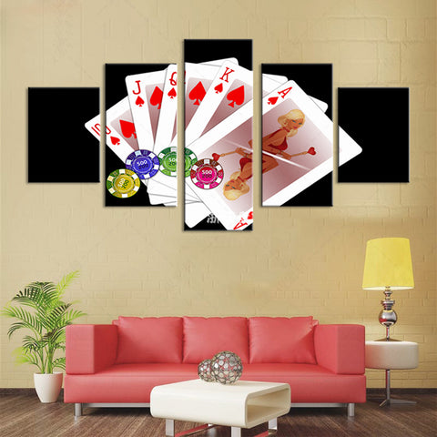 PIN UP! Modular Art in HD 5 Piece Canvas Home Decoration Casino and Poker Girls - casinomegastore