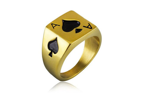 Micro Pave Square Spades poker Ring