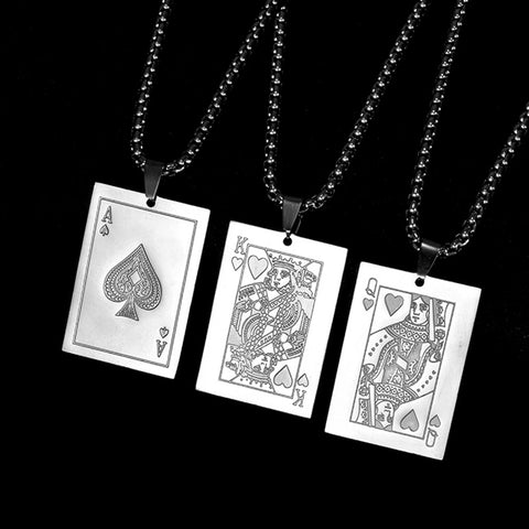 Playing Cards Poker Men Stainless Steel Ace 10 J Q K A Pendant Necklace