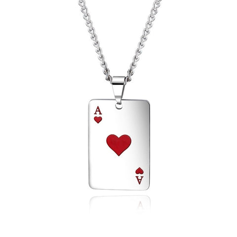 Poker Pendant Necklace Red Black Silver Color Stainless Steel
