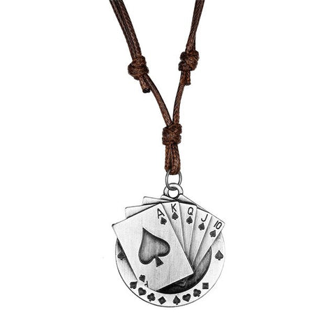 Poker Pendant Necklace Men Woman Free Adjustment Leather Necklace Collier