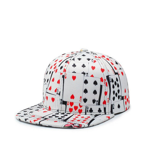 Hip Hop Cotton Poker Print Cappellino Baseball Cap