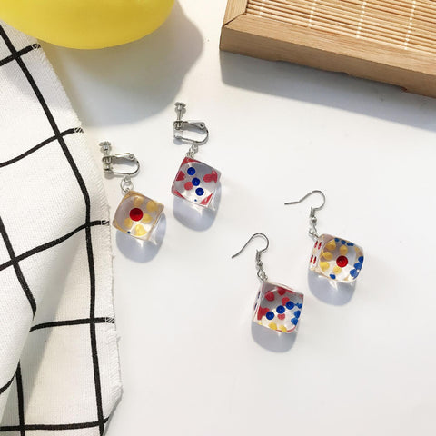 Transparent Cube Dice Drop Earrings for Women